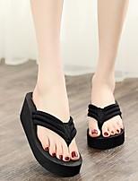 cheap -Women's Slippers & Flip-Flops Summer Wedge Heel Open Toe Daily Elastic Fabric Black