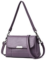 cheap -Women's Zipper PU Leather Crossbody Bag Leather Bag Solid Color Wine / Black / Purple