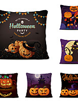 cheap -Set of 6 Throw Pillow Cases Sofa Cushion Covers Cartoon Halloween Linen Square Decorative