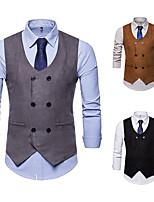 cheap -Gentleman Kingsman Vintage Masquerade Vest Waistcoat Men's Slim Fit Double Breasted Costume Black / Camel / Gray Vintage Cosplay Event / Party Sleeveless