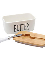 cheap -Butter Box Nordic Ceramic Container Storage Tray Dish Cheese Food Tool Kitchen Keeper Wood Cover Sealing Plate Knife
