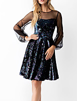 cheap -A-Line Little Black Dress Sparkle Homecoming Cocktail Party Dress Illusion Neck Long Sleeve Knee Length Sequined with Sequin 2020