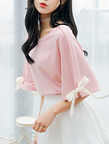 cheap -Women's Blouse Solid Colored Tops Round Neck Daily White Blushing Pink S M L XL