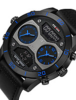 cheap -Men's Sport Watch Digital Modern Style Sporty Genuine Leather Water Resistant / Waterproof Calendar / date / day Alarm Clock Analog - Digital Cool Big Face - Blue Red Yellow