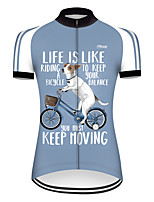 cheap -21Grams Women's Short Sleeve Cycling Jersey Nylon Polyester Blue / White Dog Animal Funny Bike Jersey Top Mountain Bike MTB Road Bike Cycling Breathable Quick Dry Ultraviolet Resistant Sports