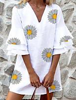 cheap -Women's A-Line Dress Short Mini Dress - Half Sleeve Polka Dot Floral Summer Casual 2020 White Black Blue Purple Green Light Blue S M L XL XXL