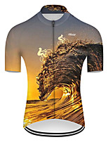 cheap -21Grams Men's Short Sleeve Cycling Jersey Nylon Polyester Black / Yellow 3D Gradient Bike Jersey Top Mountain Bike MTB Road Bike Cycling Breathable Quick Dry Ultraviolet Resistant Sports Clothing