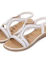 cheap -Women's Sandals Summer Flat Heel Open Toe Daily PU White / Black / Yellow