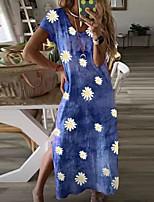 cheap -Women's A-Line Dress Maxi long Dress - Short Sleeves Floral Summer Casual 2020 Black Blue Purple Red S M L XL XXL XXXL
