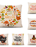 cheap -Set of 6 Farm Harvest Thanksgiving Theme Pillow Case Cushion Cover Lemon Summer Linen Home