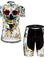 cheap -21Grams Women's Short Sleeve Cycling Jersey with Shorts Nylon Polyester Black / Blue 3D Novelty Skull Bike Clothing Suit Breathable 3D Pad Quick Dry Ultraviolet Resistant Reflective Strips Sports 3D