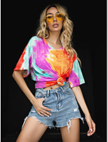 cheap -Women's T-shirt Tie Dye Print Round Neck Tops Loose Basic Summer Purple / Going out