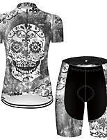 cheap -21Grams Women's Short Sleeve Cycling Jersey with Shorts Nylon Polyester Grey Novelty Skull Floral Botanical Bike Clothing Suit Breathable 3D Pad Quick Dry Ultraviolet Resistant Reflective Strips