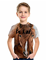cheap -Kids Boys' Basic Animal Print Short Sleeve Tee Brown