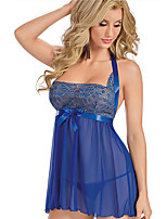 cheap -Women's Lace Backless Bow Babydoll & Slips Suits Nightwear Geometric Solid Colored Embroidered Blue M L XL