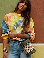 cheap -Women's Sweatshirt Geometric / Tie Dye Casual Yellow S M L XL