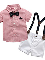 cheap -Kids Toddler Boys' Basic Striped Short Sleeve Clothing Set Blushing Pink
