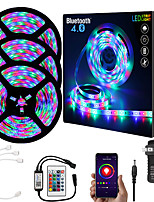 cheap -ZDM  15M (3*5M) App Intelligent Control Bluetooth Music Sync Flexible Led Strip Lights 2835 RGB SMD 540 LEDs IR 24 Key Bluetooth Controller with 12V 3A Adapter Kit