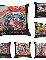 cheap -6 Pcs Linen Pillow Cover Street Abstract Graffiti Linen Pillowcase Car Pillow Cushion Sofa Pillow Pillow Office Nap Pillow