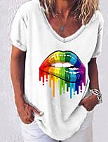 cheap -Women's T-shirt Graphic V Neck Tops Loose Summer White Black Blue