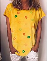 cheap -Women's T-shirt Floral Tops Round Neck Daily Blue Yellow S M L XL 2XL 3XL