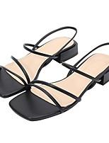 cheap -Women's Sandals Summer Block Heel Open Toe Daily PU Almond / Black