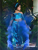cheap -Princess Princess Jasmine Cosplay Costume Outfits Girls' Movie Cosplay Cosplay Halloween Blue Top Pants Children's Day Masquerade Tulle Polyester
