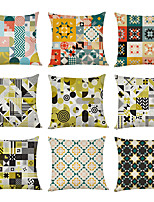 cheap -9 pcs Linen Pillow Cover, Geometric Watercolor Linen Casual Modern Square Traditional Classic