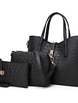 cheap -Women's PU Leather / Polyester Bag Set 2020 Crocodile 3 Pcs Purse Set Black / Gold / Gray / Fall & Winter