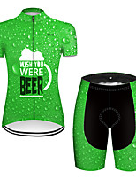 cheap -21Grams Women's Short Sleeve Cycling Jersey with Shorts Black / Green Oktoberfest Beer Bike Breathable Sports Patterned Mountain Bike MTB Road Bike Cycling Clothing Apparel / Stretchy