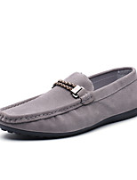 cheap -Men's Spring / Fall Casual / British Daily Loafers & Slip-Ons Microfiber Non-slipping Black / Khaki / Gray