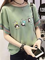 cheap -Women's T-shirt Cartoon Tops Round Neck Daily White Blushing Pink Green M L XL