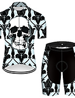 cheap -21Grams Men's Short Sleeve Cycling Jersey with Shorts Nylon Polyester Black / Green Novelty Skull Floral Botanical Bike Clothing Suit Breathable 3D Pad Quick Dry Ultraviolet Resistant Reflective