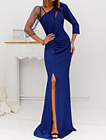 cheap -Sheath / Column Cut Out Sexy Engagement Formal Evening Dress V Neck 3/4 Length Sleeve Sweep / Brush Train Jersey with Ruched Split Appliques 2020