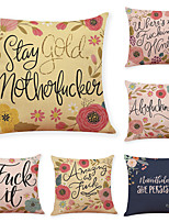 cheap -9 pcs Linen Pillow Cover, Flower Letter Casual Modern Square Traditional Classic