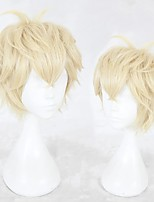 cheap -Cosplay Wig Zhou Qiluo Game Love and producer Curly Cosplay Halloween With Bangs Wig Short Blonde Synthetic Hair 12 inch Men's Anime Cosplay Easy to Carry Blonde