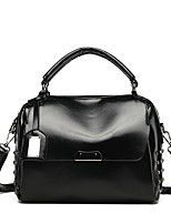 cheap -Women's Zipper PU Top Handle Bag Leather Bags Solid Color Black / Red / Brown