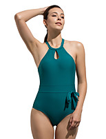 cheap -Women's Back Cross Keyhole One Piece Swimsuit Padded Swimwear Bodysuit Swimwear Black Purple Green Breathable Quick Dry Comfortable Sleeveless - Swimming Surfing Water Sports Summer / Nylon
