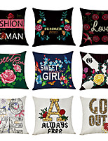 cheap -9 pcs Linen Pillow Cover, English Alphabet Floral Modern Square Traditional Classic