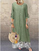 cheap -Women's A-Line Dress Maxi long Dress - Long Sleeve Floral Summer Casual 2020 Blue Green M L XL XXL XXXL XXXXL XXXXXL