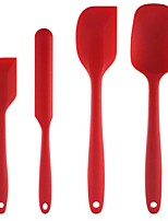 cheap -High Heat-Resistant Premium Silicone Spatula Set BPA-Free One Piece Seamless Design Non-Stick Cooking/Baking Utensil Set of 4(Red)