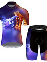 cheap -21Grams Men's Short Sleeve Cycling Jersey with Shorts Nylon Polyester Violet Gradient Animal Tiger Bike Clothing Suit Breathable 3D Pad Quick Dry Ultraviolet Resistant Reflective Strips Sports