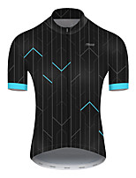 cheap -21Grams Men's Short Sleeve Cycling Jersey Nylon Polyester Black / Blue Stripes Patchwork Bike Jersey Top Mountain Bike MTB Road Bike Cycling Breathable Quick Dry Ultraviolet Resistant Sports Clothing