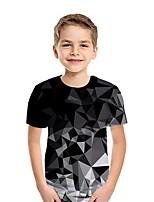 Недорогие -Дети Мальчики Уличный стиль 3D С короткими рукавами Футболка Черный