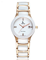 cheap -Women's Quartz Watches Elegant Fashion White Ceramic Quartz White+Gold White Water Resistant / Waterproof Calendar / date / day Analog