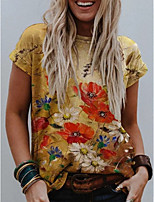 cheap -Women's T-shirt Graphic Tops Round Neck Daily Summer Yellow S M L XL 2XL 3XL