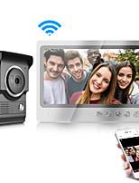 Недорогие -Двусторонняя IOS / Android смартфон управления дверным звонком с Wi-Fi 9-дюймовый монитор и водонепроницаемая крышка камеры видео домофон домофон