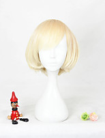 cheap -halloweencostumes Cosplay Costume Wig Cosplay Wig Lolita Straight Cosplay Halloween Bob With Bangs Wig Short Blonde Synthetic Hair 12 inch Women's Anime Cosplay Party Blonde