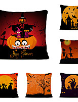 cheap -Set of 6 Throw Pillow Simple Classic 45*45 cm Polyester Pillow Cover Special Design Halloween Square Traditional Classic