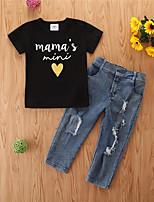 cheap -Baby Girls' Basic Print Short Sleeve Regular Regular Clothing Set Black